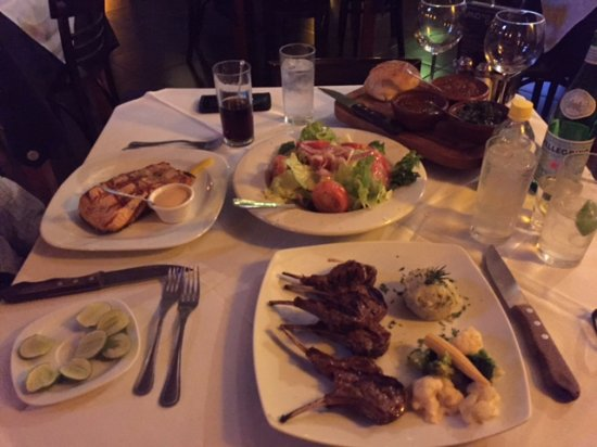 La Vaca Argentina: Salmon steak, large rack of lamb which comes with a large salad