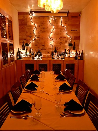 Palmeri: A private dining room - set up for larger groups.