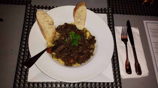 Amherstburg, Canada: Beef Burgundy or Boeuf Bourguignon served with our freshly baked French bread