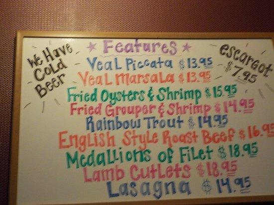 Fairfield Glade, TN: Manny & Isabella's Specials Menu
