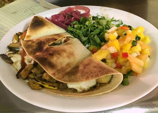 Kingston, NY: Vegetable Quesadilla w/ mango salsa & red onion escabeche