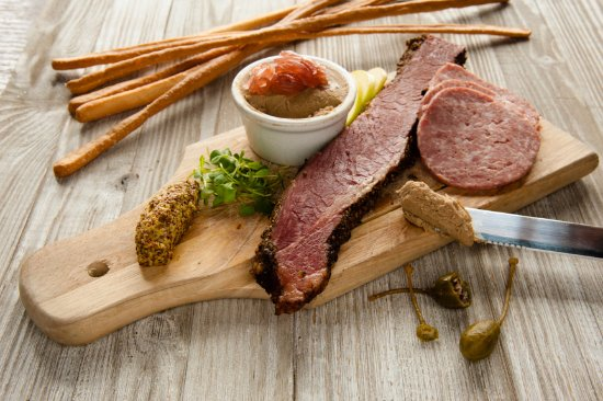 Peekamoose Restaurant: housemade charcuterie with whole grain mustard and caperberries