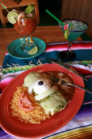Upland, CA: Chimichanga and Shrimp cocktail. Authentic Mexican Food!