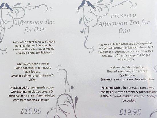 Colwall, UK: Afternoon Tea Menu