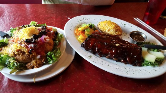 Lead, SD: Snack size indian taco and rack of ribs with twice baked potato