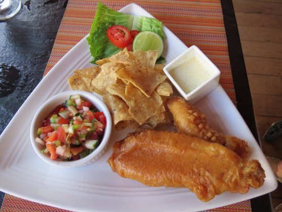 The Bonefish Grille at the Singing Sands Inn: Fish and Chips with fresh salsa