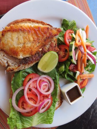 The Bonefish Grille at the Singing Sands Inn: Fish Sandwich and Garden Salad