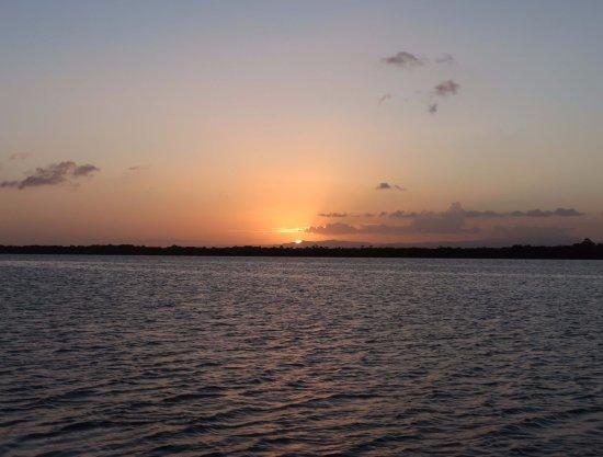 Sunset from resort lagoon side