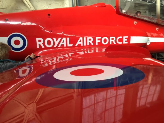 Royal Air Force Scampton Museum: The red arrow you can sit in, inside the hanger where the Lancasters used to be kept.