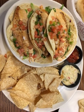 Denison, TX: Fish Taco plate was very good!   The chips were flavorful, as well as the queso and salsa.
