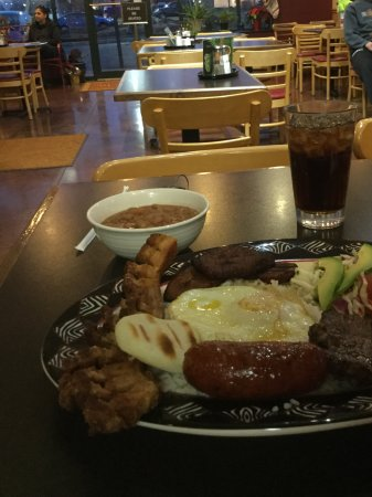 Beavercreek, OH: Bandeja Paisa plate and view inside restaurant.