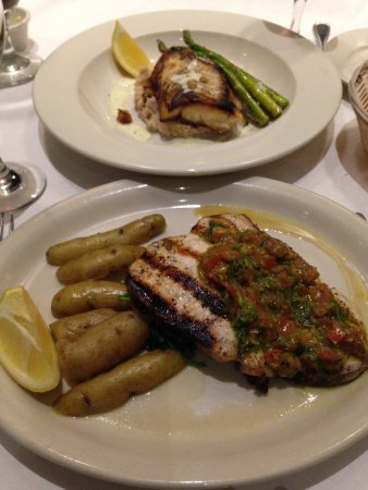 Needham, MA: Cod over bean puree, with spinach and asparagus & Grilled swordfish Provencal with fingerling po