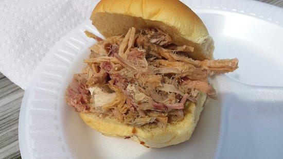Ashburn, VA: Pulled pork sandwich, very good for $6.