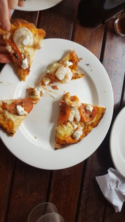 Garlic Prawn Pizza.