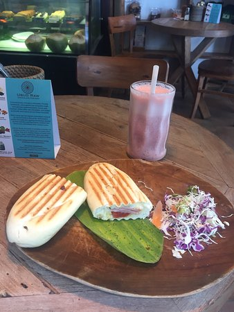 Kayu Cafe: Cosy indoor cafe with air con if you want to hide from the sun! The ham and cheese panini tastes