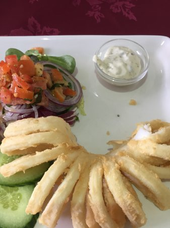 Fairford, UK: Calamari, salad and tartar sauce