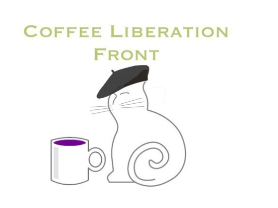 Adams, MA: Esme, the Coffee Liberation Front logo inspiration!