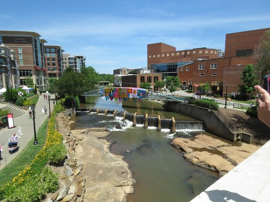 Artisphere: Downtown Greenville from Main Street bridge over the Reedy River