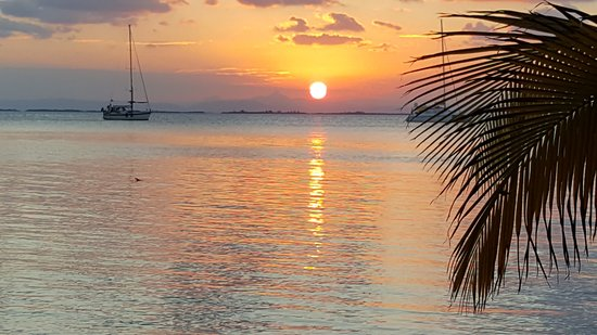 Sunset over Belize from South Water Caye