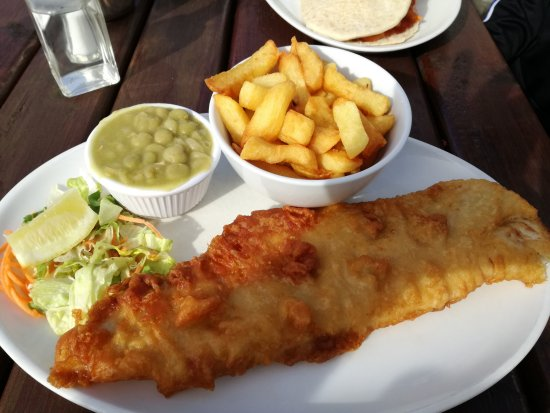 Limavady, UK: Cod and Chips with Mushy Peas.