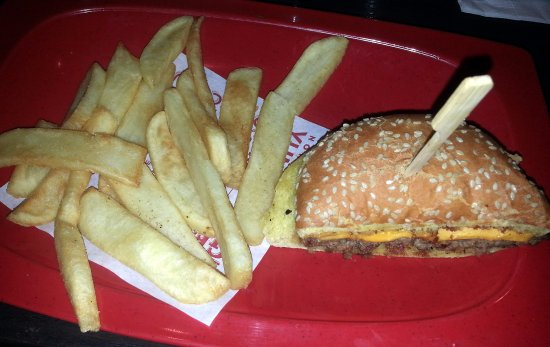 Hoffman Estates, IL: a split cheeseburger and fries