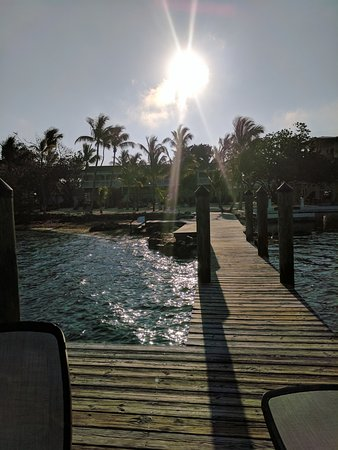 Lime Tree Bay Resort : View of the resort from the dock that held 4 lounge chairs