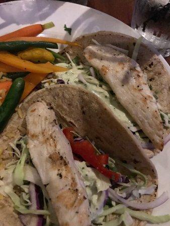 Del Mar, CA: Maui fish tacos and veggies