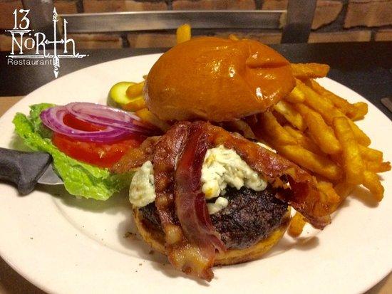 Malta, NY: Black & Bleu Burger. 8oz Hand Packed Burger (HPB) w/bleu cheese crumbles & smoke bacon