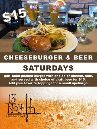 ‪‪Malta‬, نيويورك: Every Saturday is Cheeseburger & Beer Saturday for $15.‬