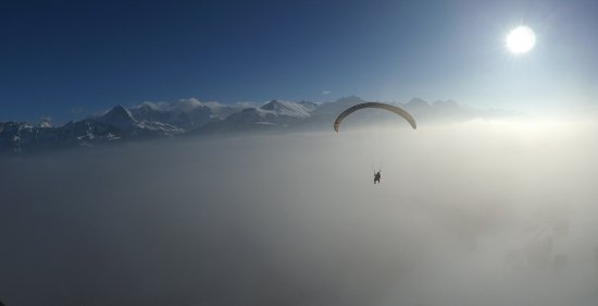 Matten bei Interlaken, Switzerland: Winter time Paragliding Interlaken