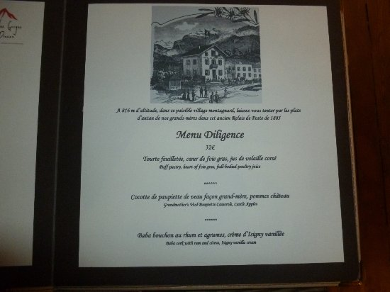 Servoz, Fransa: the menu I selected !!!!