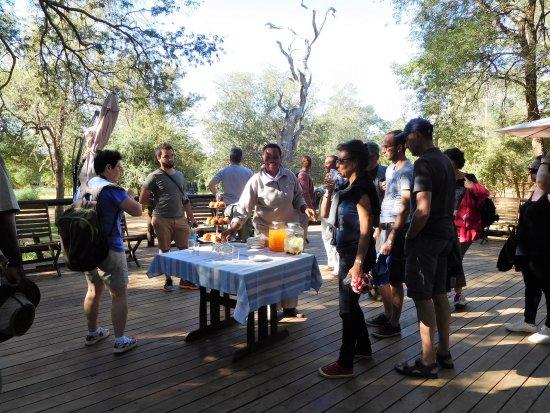 Shiduli Private Game Lodge: Cocktail avant le safari de fin d'après-midi