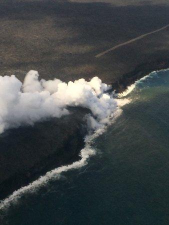 Waikoloa, HI: Lava spilling into the ocean