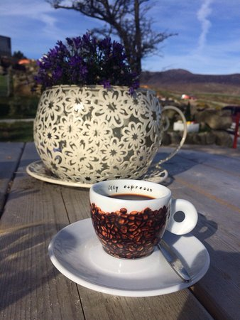 Annalong, UK: Perfect way to finish off a day climbing Binnian - coffee and apple tart in the sunshine at Carr