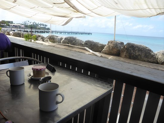 Speightstown, Barbados: two coffees on the veranda