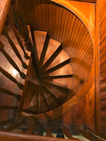 Saint Johnsbury, VT: Wood staircase to collection heaven.