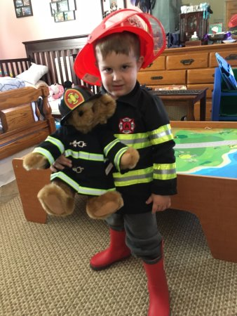 Shelburne, VT: My grandson, Gabriel, with his matching Teddy Bear.