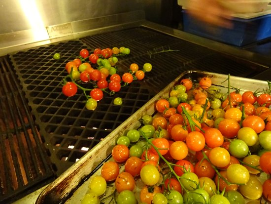 Greenville, ME: Grilled cherry tomatoes from the BHI gardens