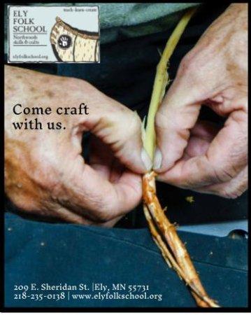 อิลิ, มินนิโซตา: Stripping spruce root for lashing birch bark canoe