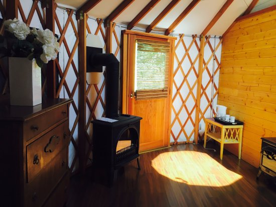 Cobble Hill, Canadá: Both yurts are equipped with propane fireplaces and electric kettles for coffee and tea