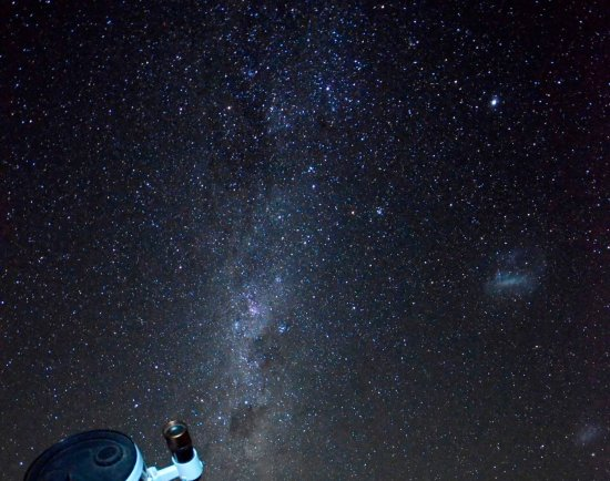 Atacama Desert Stargazing: The Milky Way and the Large and Small Magellanic Clouds. This is a real photo from Jorge's backy