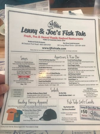 Lenny And Joe 39 S Fish Tale Menu Photo De Lenny And Joe 39 S