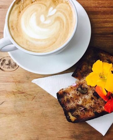 Takapuna, New Zealand: Good Morning! wake up with our GF Df  V No refine Sugar Banana Walnut Date loaf  and flat white