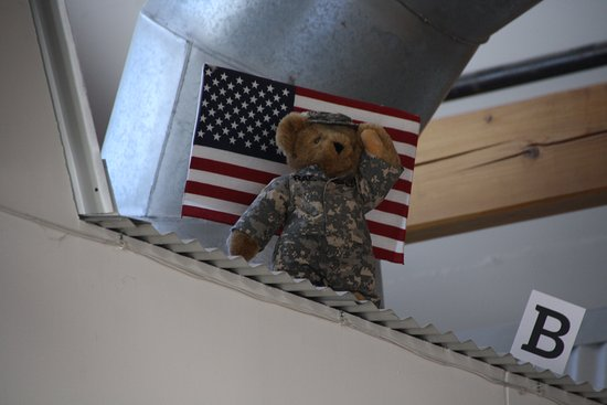 Shelburne, VT: Soldier Bear watching over the factory