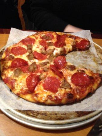 Weymouth, MA: Sausage and pepperoni bar style pizza. Delish!