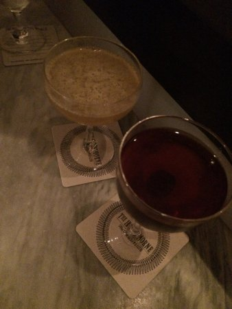 The Hawthorne: Two cocktails - left is whisky-based, right is sherry-based