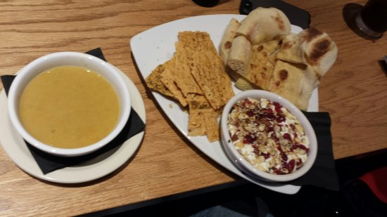 Creve Coeur, MO: Butternut squash soup and warm herbed goat cheese appetizer. (Both vegetarian and both delicious