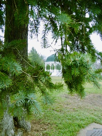 Galena, IL: A view through the trees of the park Gazebo.