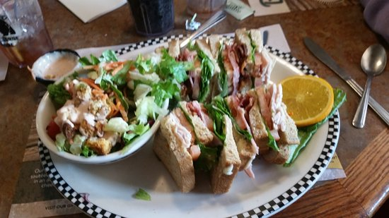 Fernley, NV: Club sandwich with house salad, dressing on the side