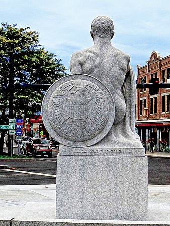 Barre, VT: Back view of Soldier Monument towards Main Street